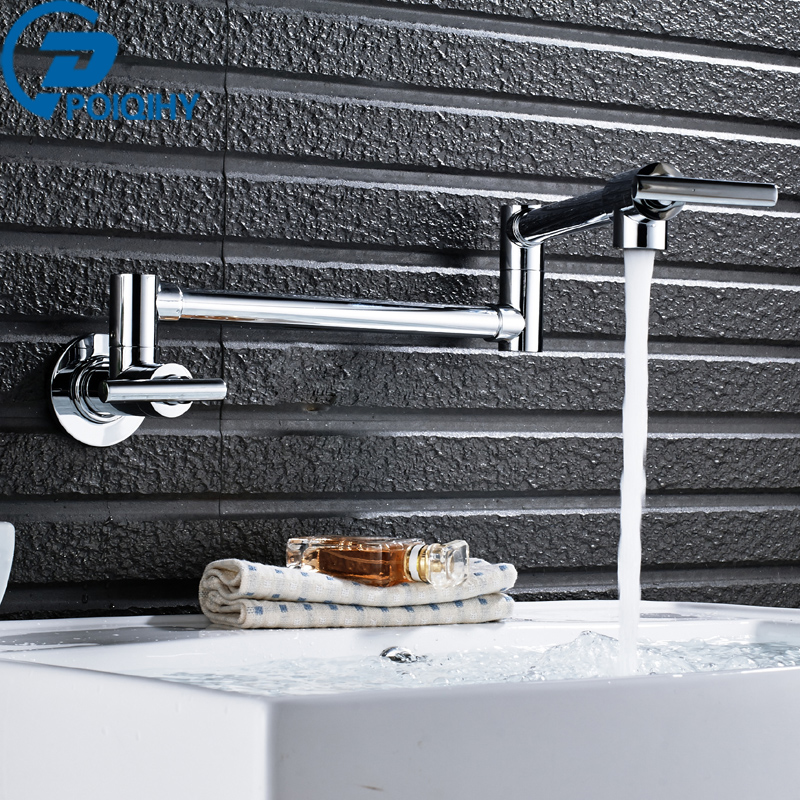 POIQIHY True Brass Chrome Kitchen faucet Kitchen Tap Single Handle Single Hole Water Tap torneira cozinha Mixer Cold and Hot high quality single handle brass hot and cold basin sink kitchen faucet mixer tap with two hose kitchen taps torneira cozinha