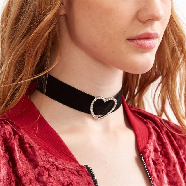 JOUVAL 2017 Black Velvet Choker Necklace Women Women Rhinestone Heart Wide  Wrap Neck Chokers Chocker Jewelry Love Gift N1668 a6c5a08222f1