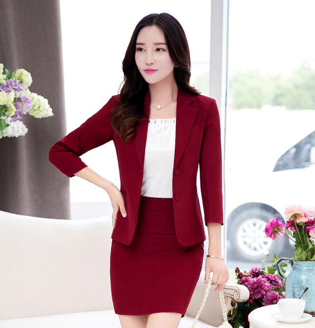 New Style 2016 Spring Female Long Sleeve Uniform Solid Blazer Women Skirt Suits and Jacket Sets Ladies Business Suit Blazer Work