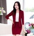 Nuevo estilo 2016 primavera uniforme de manga larga para mujer sólido Blazer mujeres juegos de falda y sistemas Jacket para mujer traje de trabajo chaqueta