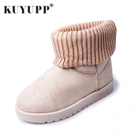 KUYUPP Patchwork Knitting Wool Women Snow Boots Winter Shoes 2016 Flat Heels Warm Plush Ankle Boots