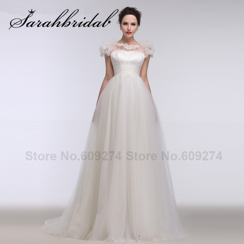 robe de mariage Tulle Pleat Wedding Dresses Short Sleeves Bridal Gowns With Button Plus Size Vintage Long Wedding Dress WG008