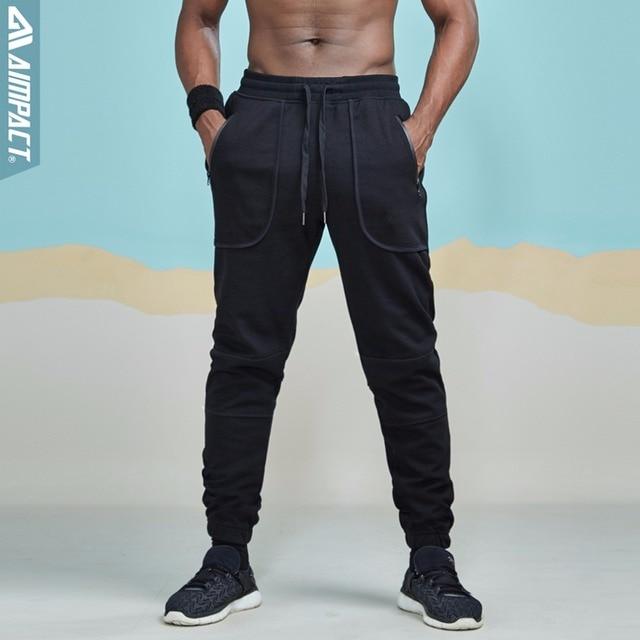 Aimpact 綿ジョガー男性用カジュアルフィットアクティブジョギングパンツ男性スポーティーなトレースポケットズボン AM5030
