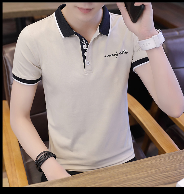 2019 men splicing t-shirts with short sleeves Comfortable in summer youth leisure lapel t-shirts 29