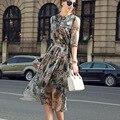 Женский 2017 Dress Случайные Кнопки Колен Three Auarter Рукав Dress Цветы Дизайн Модный Лето Леди Шелковые Платья