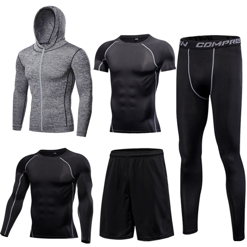 Image 5 - Gym Mens Running Fitness Sportswear Athletic Physical Training Clothes Suits Workout Jogging Sports Clothing Tracksuit Dry Fit-in Running Sets from Sports & Entertainment on AliExpress