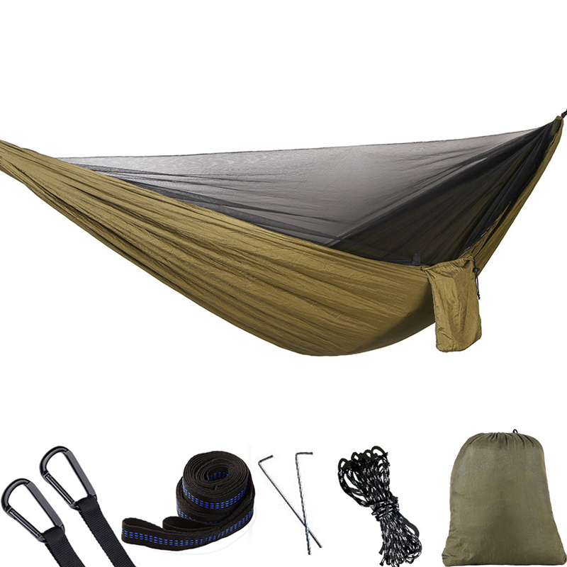 Image 5 - VILEAD 290*140 cm Camping Hammock with Mosquito Portable Stable High Strength Ultralight Hanging Bed Sleeping Hiking Camping Cot-in Camping Cots from Sports & Entertainment