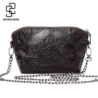 Luxury Brand Women Vintage Retro Design Messenger Bag Genuine Leather Female Embossed Flower Bag Small Mini