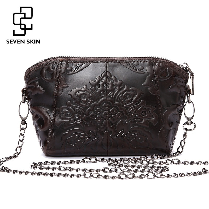 SEVEN SKIN Brands Vintage Women Bags Messenger Bag Genuine Leather Female Embossed Flower Bag Small Women Shoulder Bags Chain