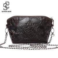 Luxury Brand Women Vintage Retro Design Messenger Bag Genuine Leather Female Embossed Flower Bag Small Mini