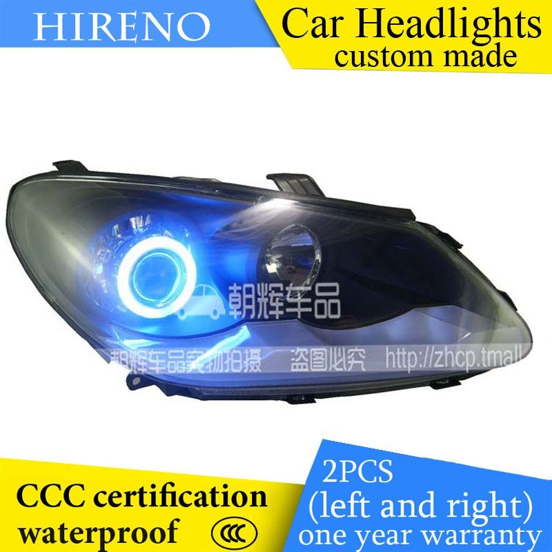 Hireno custom Modified Headlamp for Chery A3 Headlight Assembly Car styling Angel Lens Beam HID Xenon 2 pcs
