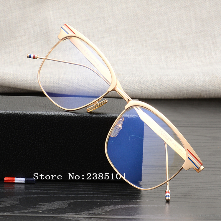 High quality metal square Eye glasses frames Thom brand for men and women simple coated travel fishing sunglasses TB104 Reading