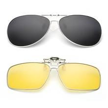 цена на New Clip On Polarized Square Pilot Sunglasses Myopia Driving Night Vision Lens Sun Glasses Anti-UVA For Men Women Metal Frame H9