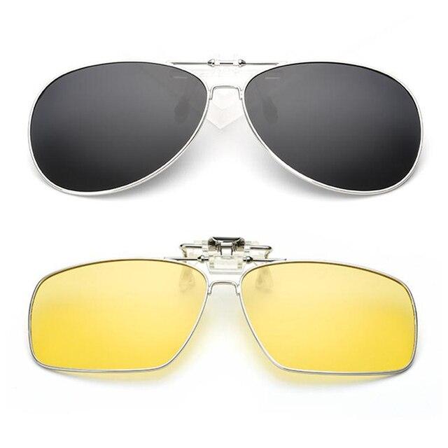 2475129568f New Clip On Polarized Square Pilot Sunglasses Myopia Driving Night Vision Lens  Sun Glasses Anti-UVA For Men Women Metal Frame H9