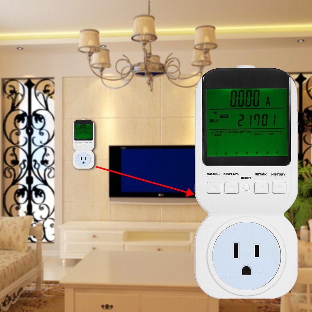 US/EU/UK Plug Electric Digital Socket Analyzer Energy Meter Plug Power Meter Voltage Amps Watt Meter Tester Socket Monitor digital electric power energy meter tester monitor watt meter analyzer energy saving lamps tester hp9800 digital voltage meter