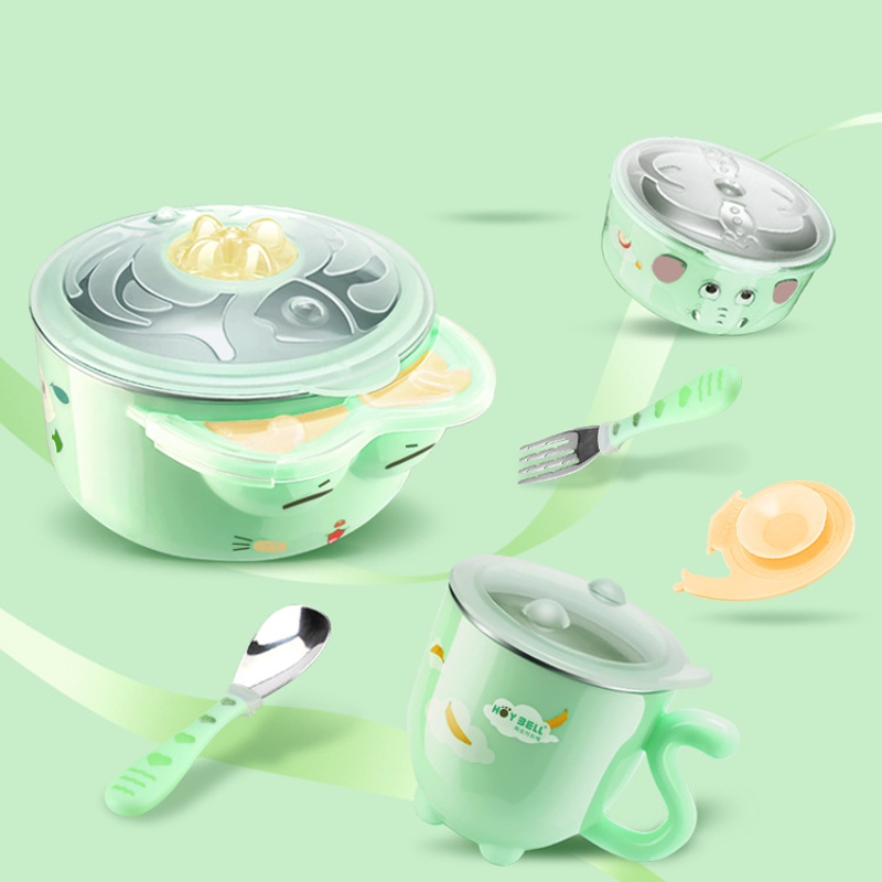 6Pcs Baby Infant Dinnerware Set Warm Insulation Bowls Spoon Fork Cup Nonslip Suction Cup Bowl Kids Baby Feeding Tableware