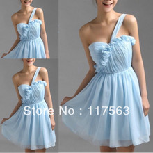 Cheap price light blue one shoulder pleats chiffon short bridesmaid dress brides maid dress free shipping BD108
