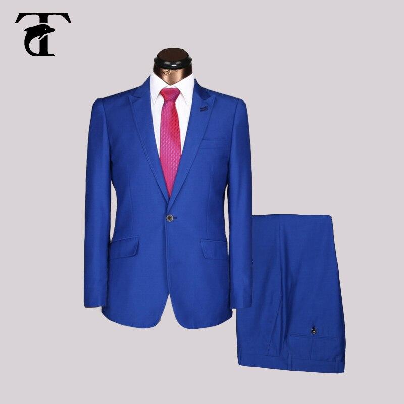 2016 offre spéciale derniers hommes costume Design Slim Fit avec manches longues affaires hommes costumes hommes mariage noir bleu marine Bleiser Masculino