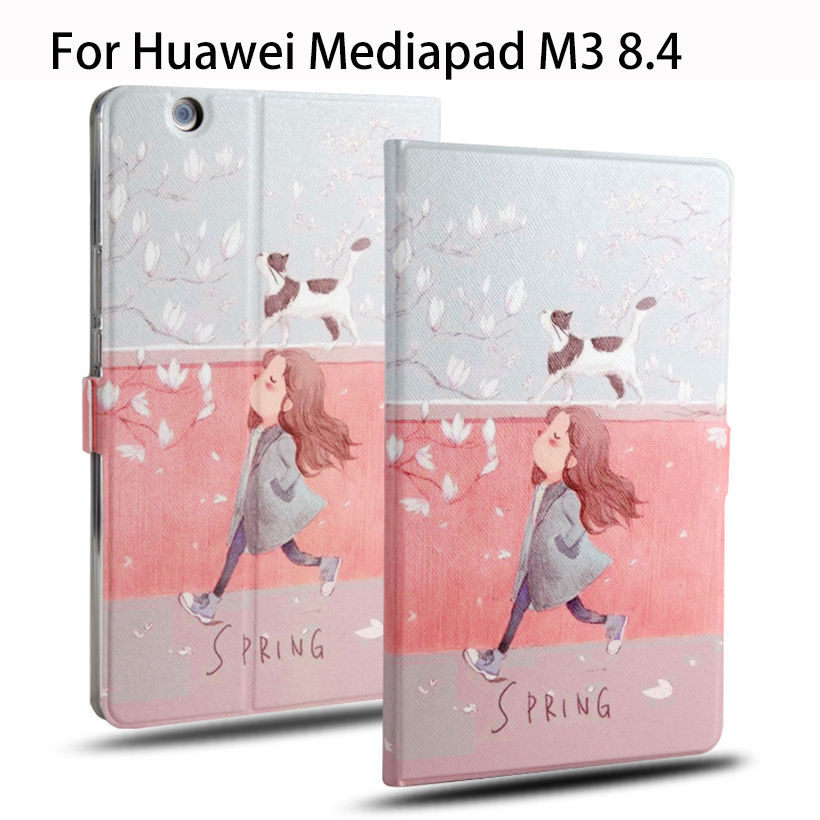 Fashion Leather Case For Huawei MediaPad M3 BTV-W09 BTV-DL09 8.4 inch Cases Cover Tablet Children's cartoon pattern Stand Funda ultra thin pu leather case cover for huawei mediapad m3 btv w09 btv dl09 8 4 inch tablet cases stylus film