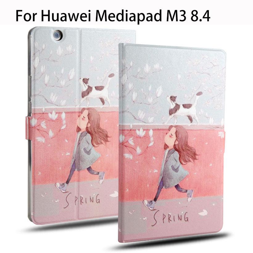 Модный кожаный чехол для Huawei MediaPad M3, 8,4 дюйма, чехлы для BTV-W09 и планшетов, Детские чехлы с мультяшным рисунком и подставкой