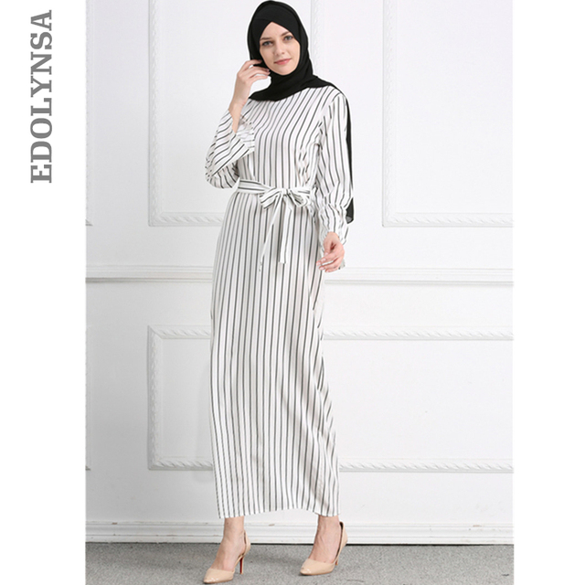 cb1514e3795db US $24.29 46% OFF|2019 Adult Hijab Abaya Fashion White Stripe Sashes Long  Muslim Dress Islamic Clothing Women Turkish Robe Dubai Kaftan Oman D611-in  ...