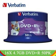 DVD диски Verbatim DVD+ R 4,7 GB 16X CD Диски Lotes белые Струйные печатные Bluray пустые компактные диски для записи DVD R пустые