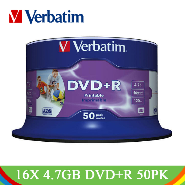 Verbatim DVD Drives DVD+R 4.7GB 16X CD Disks Lotes White Inkjet Printable Recordable Bluray Blank Disc Compact Write DVD R Empty
