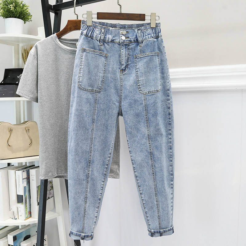 Spring Summer Woman High Waist Boyfriend Jeans For Women Denim Harem Pant Plus Size Mom Jeans Loose Trousers Vaqueros Mujer