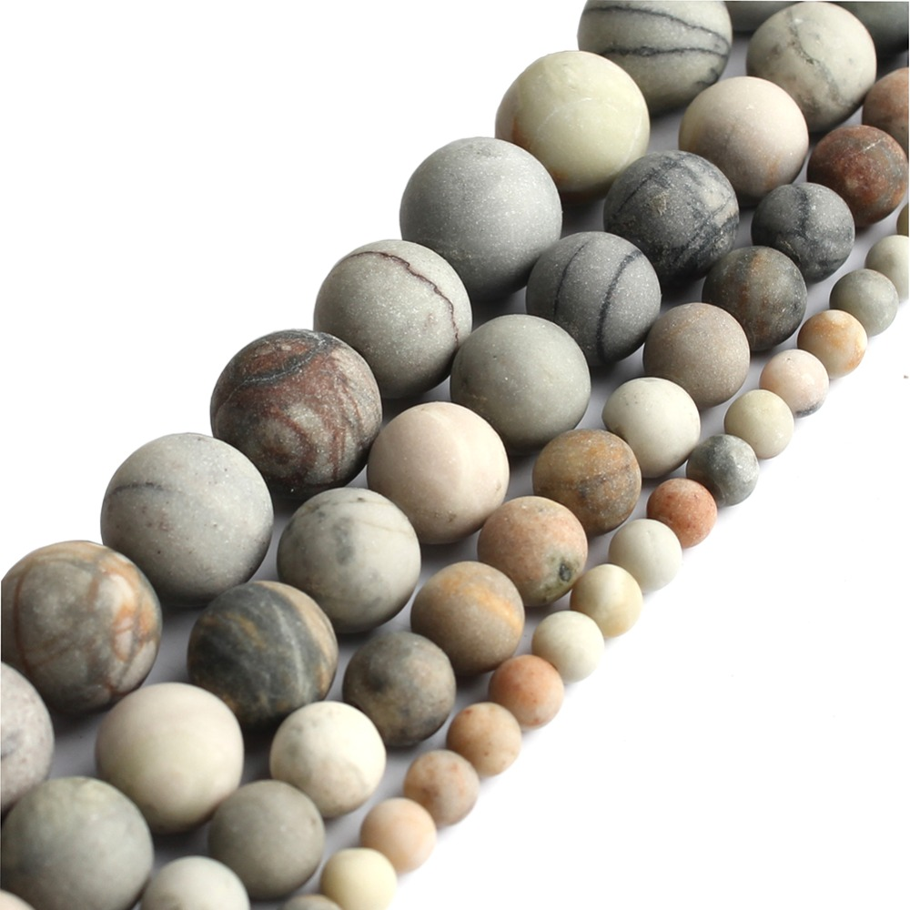 Picasso Jasper Gemstone Round Beads For Bracelet Necklace Jewelry Beawork 6-10mm