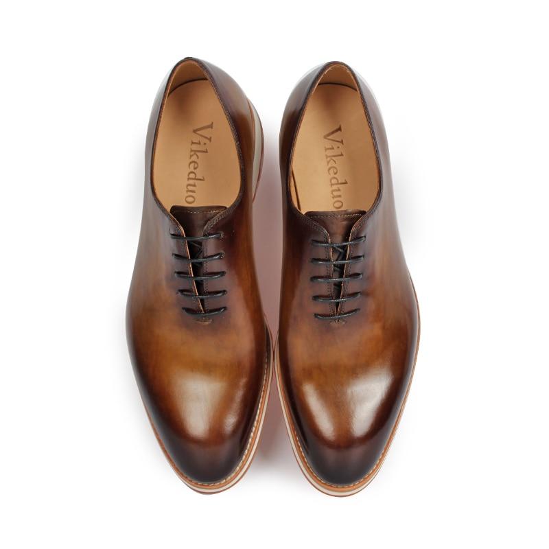 Moda Red 2019 Mano Genuino Hecho Formal Oxford A Lujo De Fiesta Boda Brown Hombre Cuero Retro Patina Zapatos Zapato Hombres Vikeduo Los dark Cw0Bqd0
