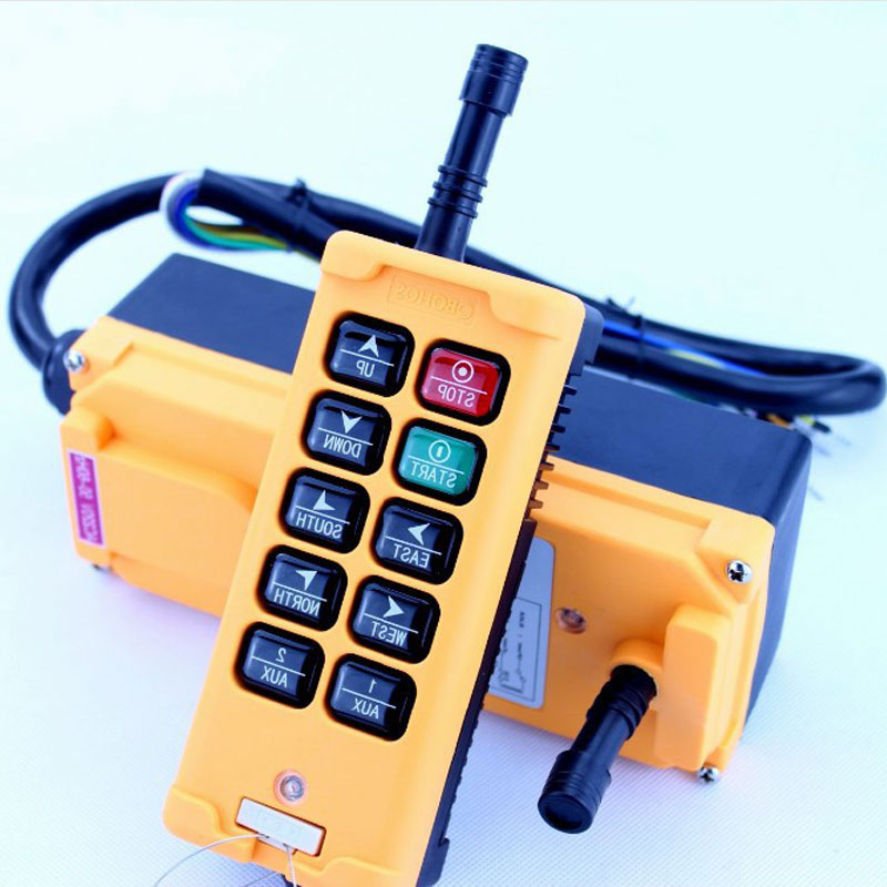 HS 10 DC24V 10 Channels Control Hoist Crane Switch Radio Remote Control System Industrial Remote Control Switch No battery