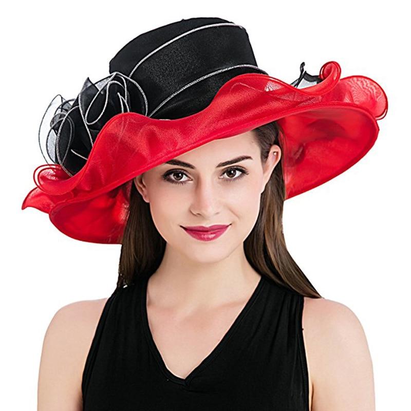 22e5ef61b FGHGF Women's Kentucky Derby Hat Luxury Ruffle Brim Floral Aside Patchwork  Organza Wide Brim Hat Summer Church Party Wedding Hat