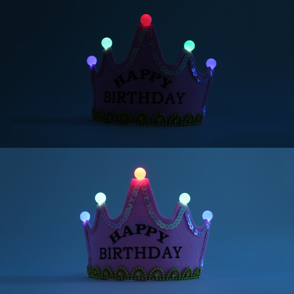 High Quality LED Light Birthday Party Hats Crown King Princess Birthday Party Caps For Kids Photo Props Party Decor Hats PINK in Party Hats from Home Garden