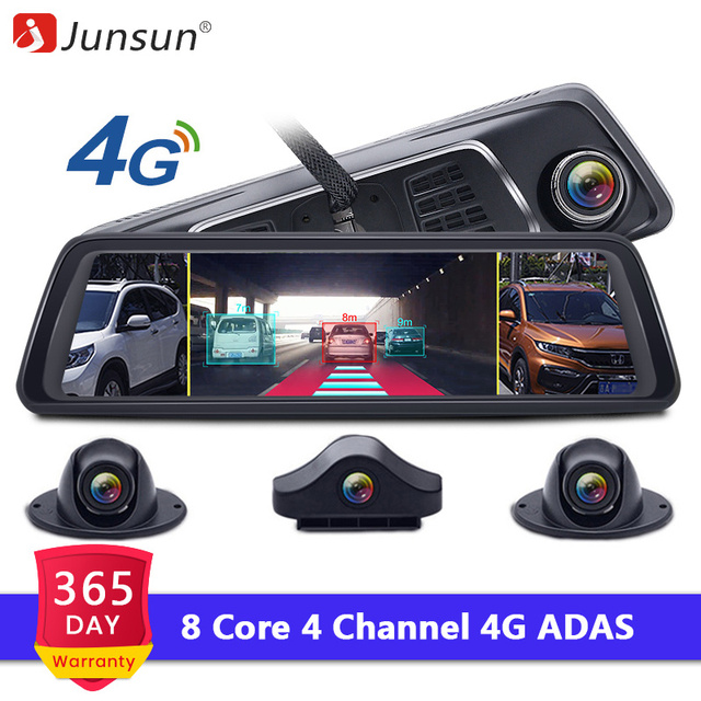 """Junsun 2019 ADAS 4 канал; Автомобильный видеорегистратор камера видео регистраторы зеркало г 10 """"Media зеркало заднего вида 8 Core Android регистраторы FHD 1080 P"""
