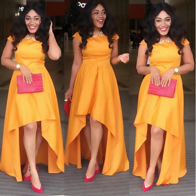 Orange Haut Bas Robes De Soirée Africains 2017 Pas Cher Femmes Formelle  Parti Robe Longue Robes
