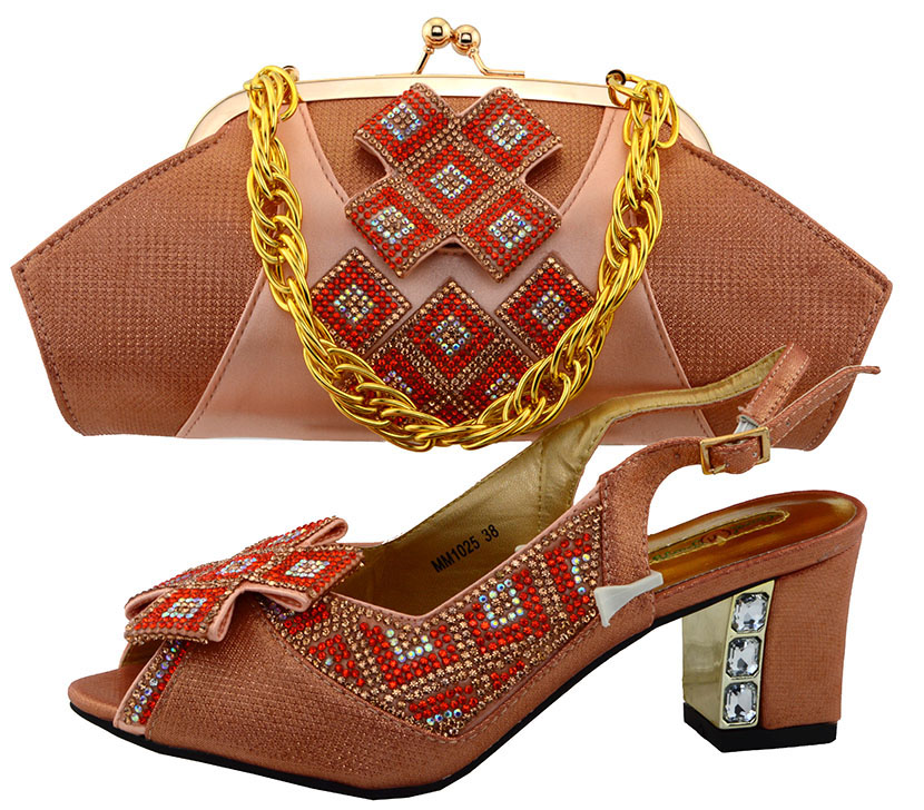2017 High Quality Nigeria Party Wedding Shoes Italian Shoes And Bags Set To Match African Shoe and bag set Peach Color MM1025
