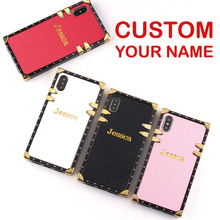 Leather Trunk Case Stamping Emboss Gold Personalized Custom Name Text Clear Phone For iPhone 6S XS Max XR 7 7Plus 8 8Plus X