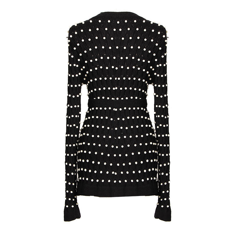 Femme Perle V Automne Yd 2018 Manches Slim Sweater Tops Creux Longues À Lady Out Cardigan ever Lacent Perles Chandail Col Black HDIW9eE2Y