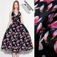 Pink Magnolia Printing Silk Organza Satin Fabric Crisp Silk Fabric For Dress Chinese Silk Fabric Wholesale