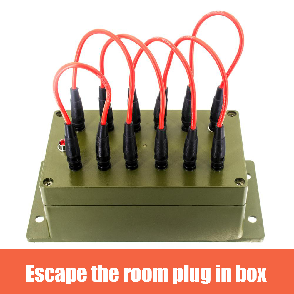 Real Escape Room Props Plug-in Box Organs With 12 Jacks And 6 Patch Cords To Unlock 12V EM Lock For For Exit Room Owner