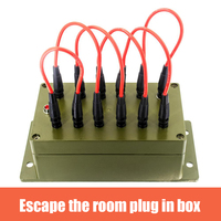 Real Escape Room Props Plug in Box Organs With 12 Jacks and 6 Patch Cords to unlock 12V EM Lock for for Exit Room Owner