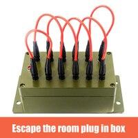 Real Sala de escape Props Plug-in caja órganos con 12 gatos y 6 cables de conexión para desbloquear 12V EM bloqueo para el propietario de la sala de salida