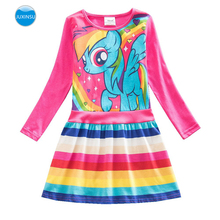 JUXINSU Toddler Cotton My Little Girls Long Sleeve Dresses Pony Dress Rainbow Pony Cartoon Autumn Winter for Baby Girl 1-8 Years samgami baby new summer cute dress little girls dress my pony spring girl short sleeve dresses my girls princess for little pony