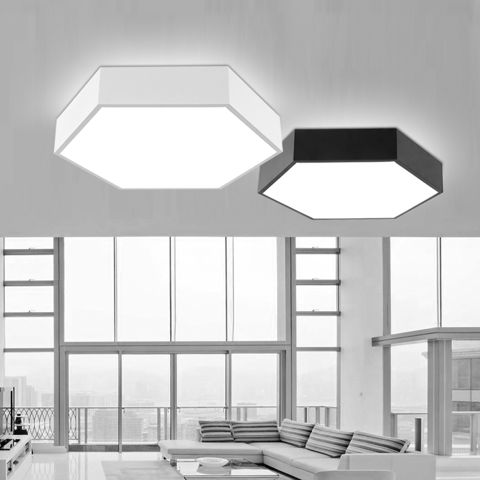 Modern Simple Led Acrylic ceiling lights Geometry hexagon White/Black Color for living room bedroom home Light lamp Fixture round thin iron acrylic geometry ceiling light fixture surface mounted modern simple plafon lamp for hallway bedroom living room