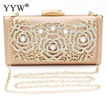 Champagne Rhinestone Clutch Bags Fashion Beaded Banquet Diamond Day Clutches Elegant Evening Party Handbags Purse Female Clutch цена 2017
