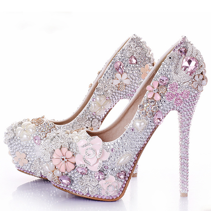 Rhinestone flower pink wedding shoes stiletto heel 14cm crystal 2018 rhinestone flower pink wedding shoes stiletto heel 14cm crystal 2018 bridal prom bridesmaid shoes for mermaid wedding dresses in womens pumps from shoes on mightylinksfo