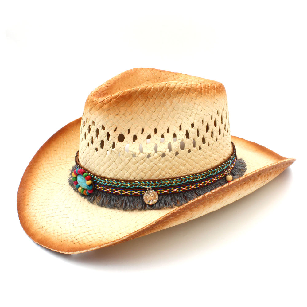 Fashion Women Western Cowboy Hat Handmade Tassel Ribbon For Lady Beach Sun Sombrero Mesh Cowgirl Hat Size 58CM