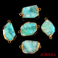 JUWEILI Jewelry Retail 1x Gold Plated Natural Stone White Crystal Druzy Geode Dye Aqua Connector Pendant Necklace Women Men Gift