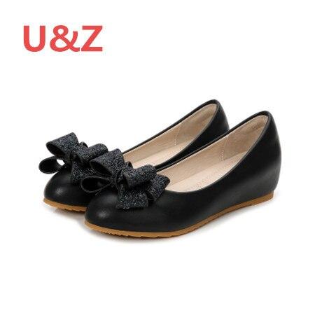Đáng yêu glitter bow phụ nữ kitten nêm đôi giày mũi da, màu đen/Trắng Mờ da gót Không Khí đệm đế thoải mái giày bơm