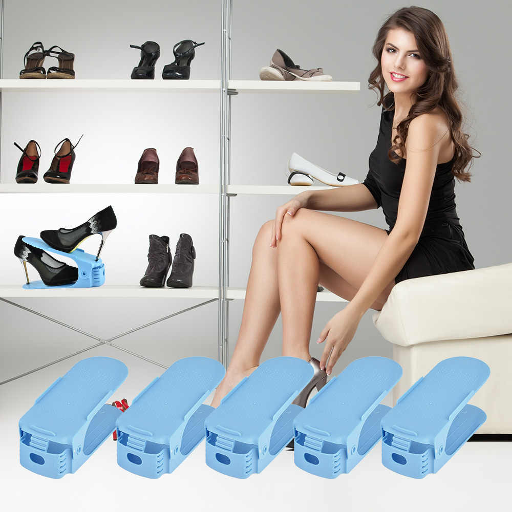 10 8 2 pcs Double Magic Shoe Organizer Shoebox Rack Adjustable Space Saving Range Shoe Storage Shelf Slot Closet Collection